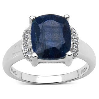 Malaika Sterling Silver 4 1/5ct TGW Sapphire and White Topaz Ring