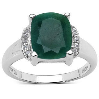 Malaika Malaika Sterling Silver 3ct TGW Emerald and Topaz Ring
