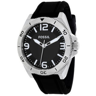 Fossil Men's BQ1169 Classic Round Black Silicone Strap Watch