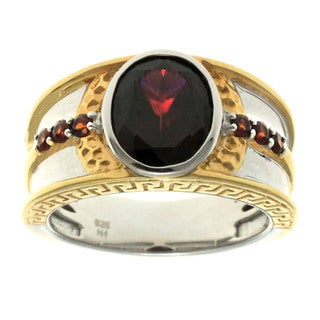 Michael Valitutti Gold over Silver Men's Rhodolite and Garnet Ring