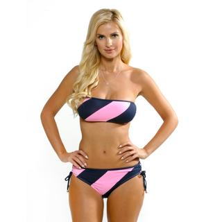 Anne Cole Women's Multi Colored Rugby Bandeau and Side Hipster Set