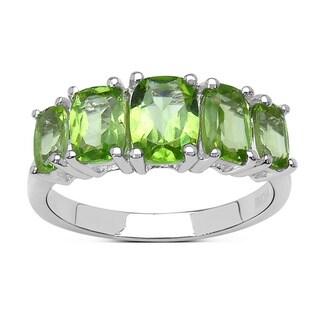Malaika Sterling Silver 2 3/4ct Green Peridot Ring
