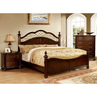 Furniture of America Miralle 2-Piece Dark Cherry Poster Bed and Nightstand Set