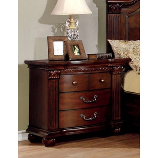 Furniture of America Vayne Traditional Cherry 3-Drawer Nightstand