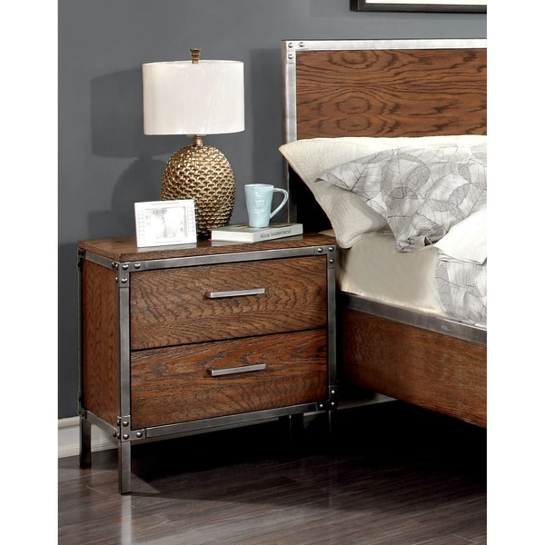 Furniture of America Anye Industrial Style 2 Drawer Nightstand