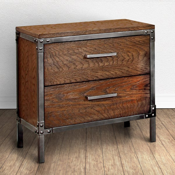 furniture of america anye industrial style 2 drawer