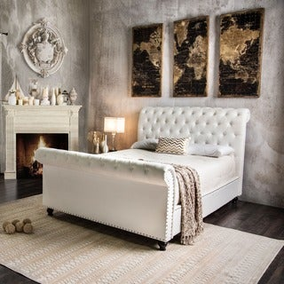 Furniture of America Victor I Button Tufted Leatherette Sleigh Bed