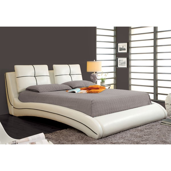 king size bed platform frame modern white upholstered leather bedroom furniture ebay. Black Bedroom Furniture Sets. Home Design Ideas