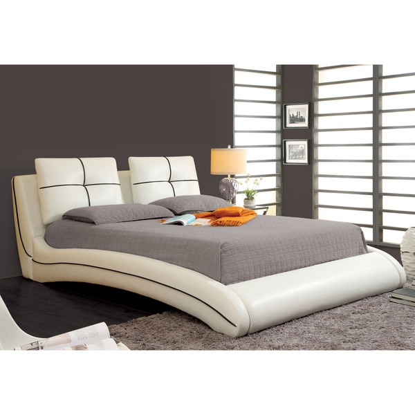 Bed platform frame modern white upholstered leather bedroom furniture