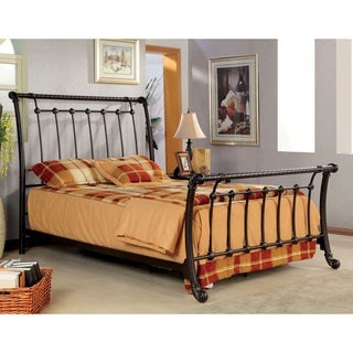 Furniture of America Brielle Brushed Bronze Metal Sleigh Bed
