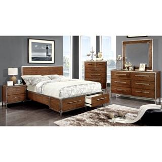 Furniture of America Anye 4-Piece Industrial Style Dark Oak Bedroom Set