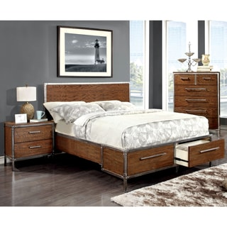 Furniture of America Anye 2-Piece Industrial Style Dark Oak Bed and Nightstand Set