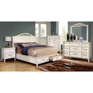 Furniture of America Tiffa 4-Piece Elegant White Bedroom Set