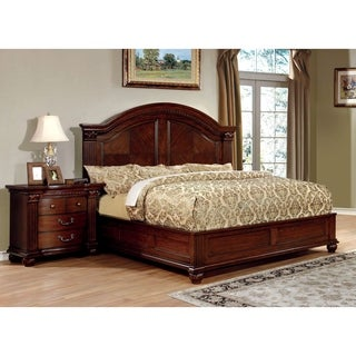 Of America Vayne I 2 Piece Traditional Cherry Bed And Nightstand Set