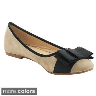 CHASE & CHLOE WINDY-1 Women's Double Folded Bow Detailed Flats