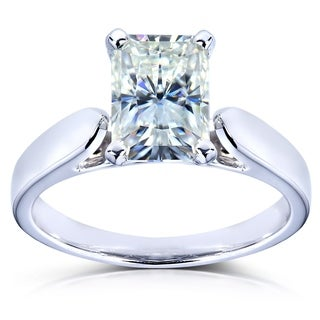 Annello 14k White Gold Radiant-cut Moissanite Solitaire Engagement Ring