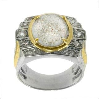 Michael Valitutti Silver Druzy White Sapphire White Topaz Ring