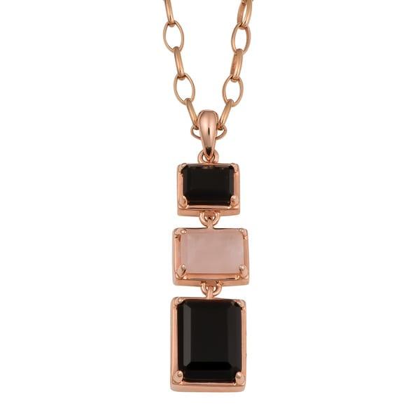 Oro Rosa 18k Rose Gold Over Bronze High Polish Rose Quartz and Black Onyx Drop Necklace (38 inch)