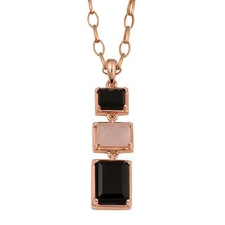 Oro Rosa 18k Rose Gold Over Bronze High Polish Rose Quartz and Black Onyx Drop Necklace (38 inch)
