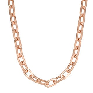 Oro Rosa 18k Rose Gold Over Bronze Italian High Polish Oval Status Link Chain Necklace (18, 20 or 24 inch)