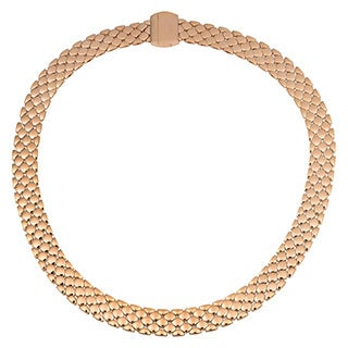 Oro Rosa 18k Rose Gold Over Bronze Italian High Polished Finish Panther Link Statement Necklace