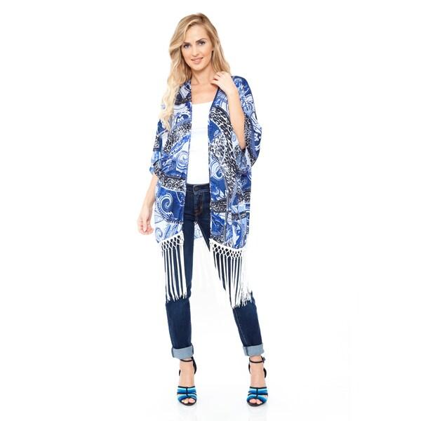 White Mark Women's White & Blue Fringe Kimono