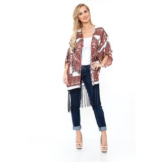White Mark Women's Burgundy & White Fringe Kimono
