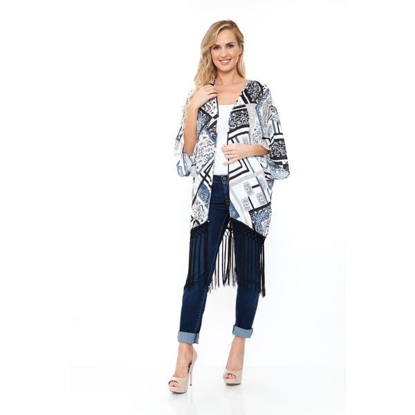 White Mark Women's White/Black/Blue Fringe Kimono