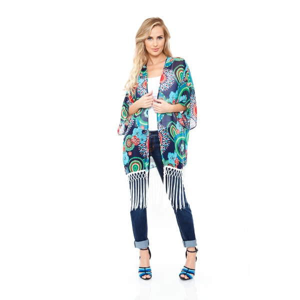 Women's Navy/ Green Fringe Kimono
