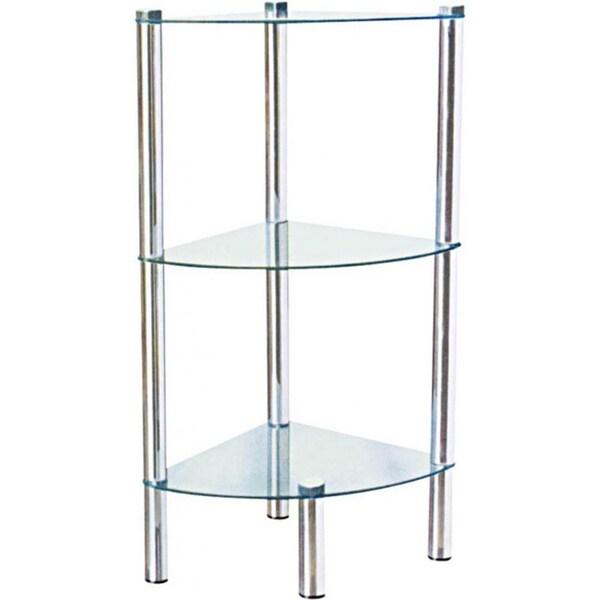 Home basics 30 high three shelf glass shelving unit for Chrome bathroom shelving unit