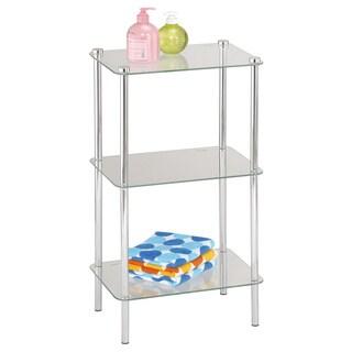 Home Basics 30.5-inch Glass Three Shelf Shelving Unit (Chrome Finish)