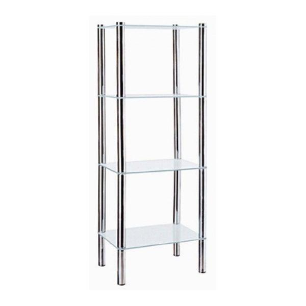 Home Basics 4-Tier Glass Rectangle Shelve (Chrome Finish)
