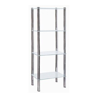 Home Basics 4-Tier Glass Rectangle Shelve (Chrome Finish)