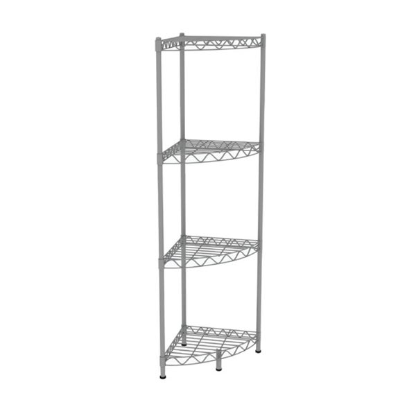 "Home Basics 46.5"" High 4-Tier Wire Corner Shelving Unit (Grey)"