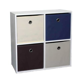 Home Basics Cube Shelves with 4 Canvas Bins
