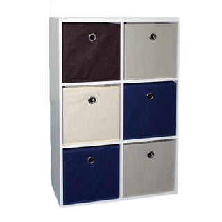 Home Basics Cube Shelves with 6 Non-Woven Bins