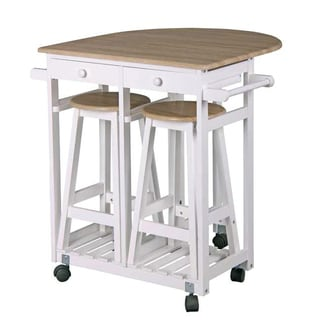 Home Basics Kitchen Cart with 2 Stools & Drawers