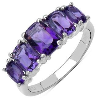 Sterling Silver Cushion-cut Amethyst 5-stone Ring
