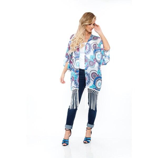 Women's Teal/ Burgundy Fringe Kimono