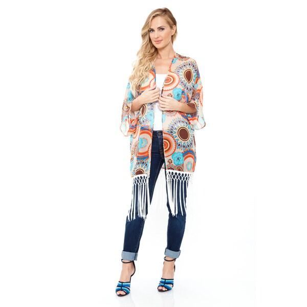 Women's Beige/ Orange Fringe Kimono