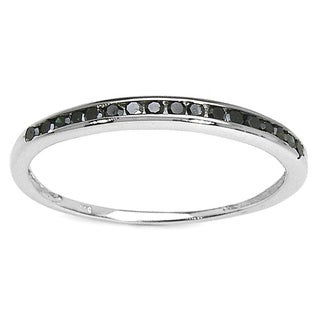 Malaika Malaika Sterling Silver 1/5ct TDW Black Diamond Ring