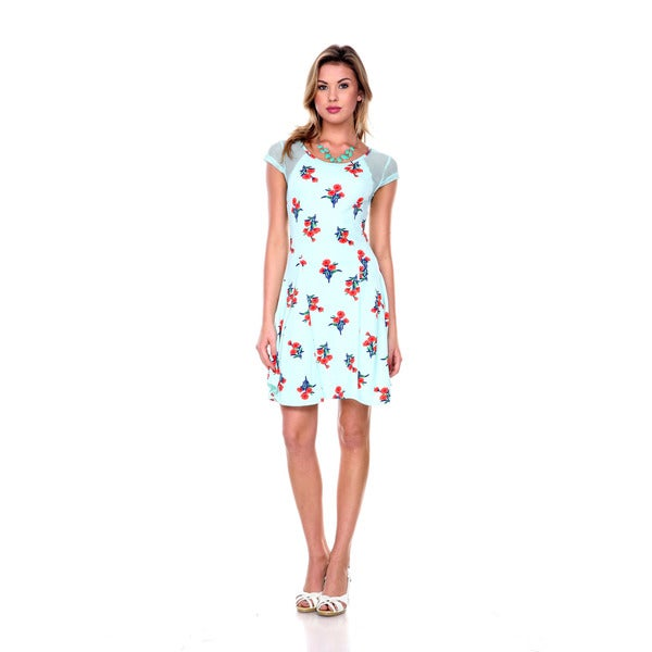 Stanzino Women's Floral Cap Sleeve A line Dress