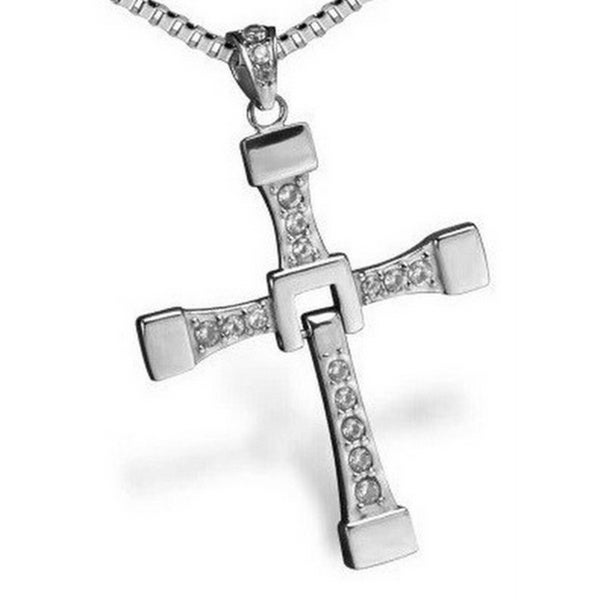 Princess Ice Platinum-plated Crystal Rhinestone Religious Cross Pendant