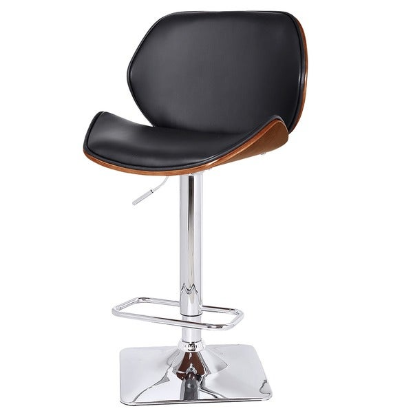 Venus Bent Wood/ Faux Leather Adjustable Gas Lift Stool