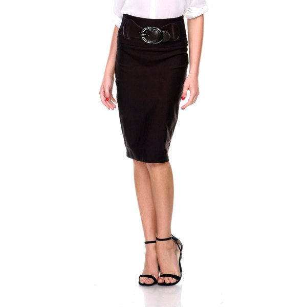 Stanzino Women's High Waisted Pencil Skirt with Belt
