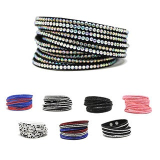 Bleek2Sheek Paved Rhinestone/ Suede Wrap-around Layered Cuff Bracelet