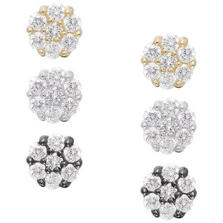 Dolce Giavonna Sterling Silver Cubic Zirconia Stud Earring Set