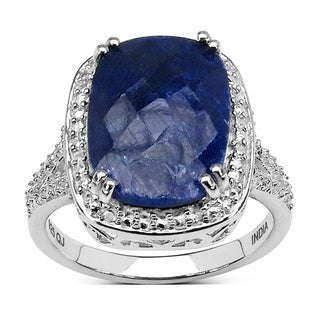 Malaika Sterling Silver Dyed Blue Sapphire Ring