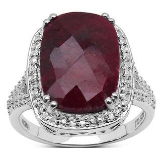 Malaika Sterling Silver Cushion-cut Dyed Ruby Ring