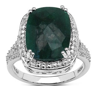 Malaika Sterling Silver Cushion-cut Dyed Emerald Ring